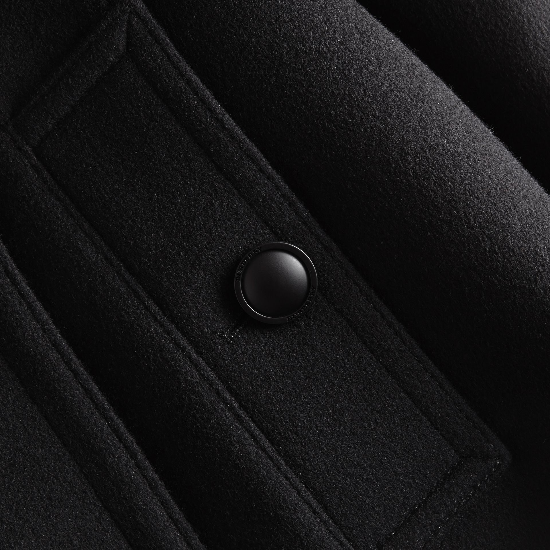 Black Wool Cashmere Pea Coat with Detachable Warmer - gallery image 2
