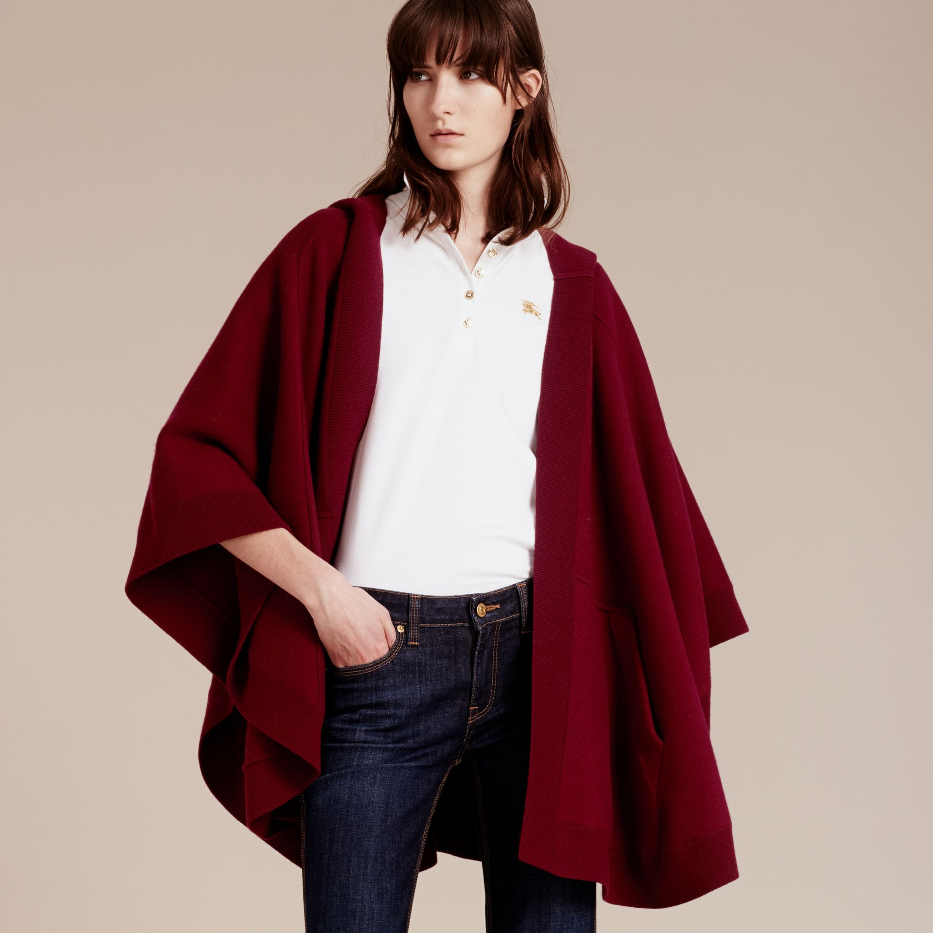 Deep red Wool Cashmere Blend Hooded Poncho Deep Red - gallery image 8