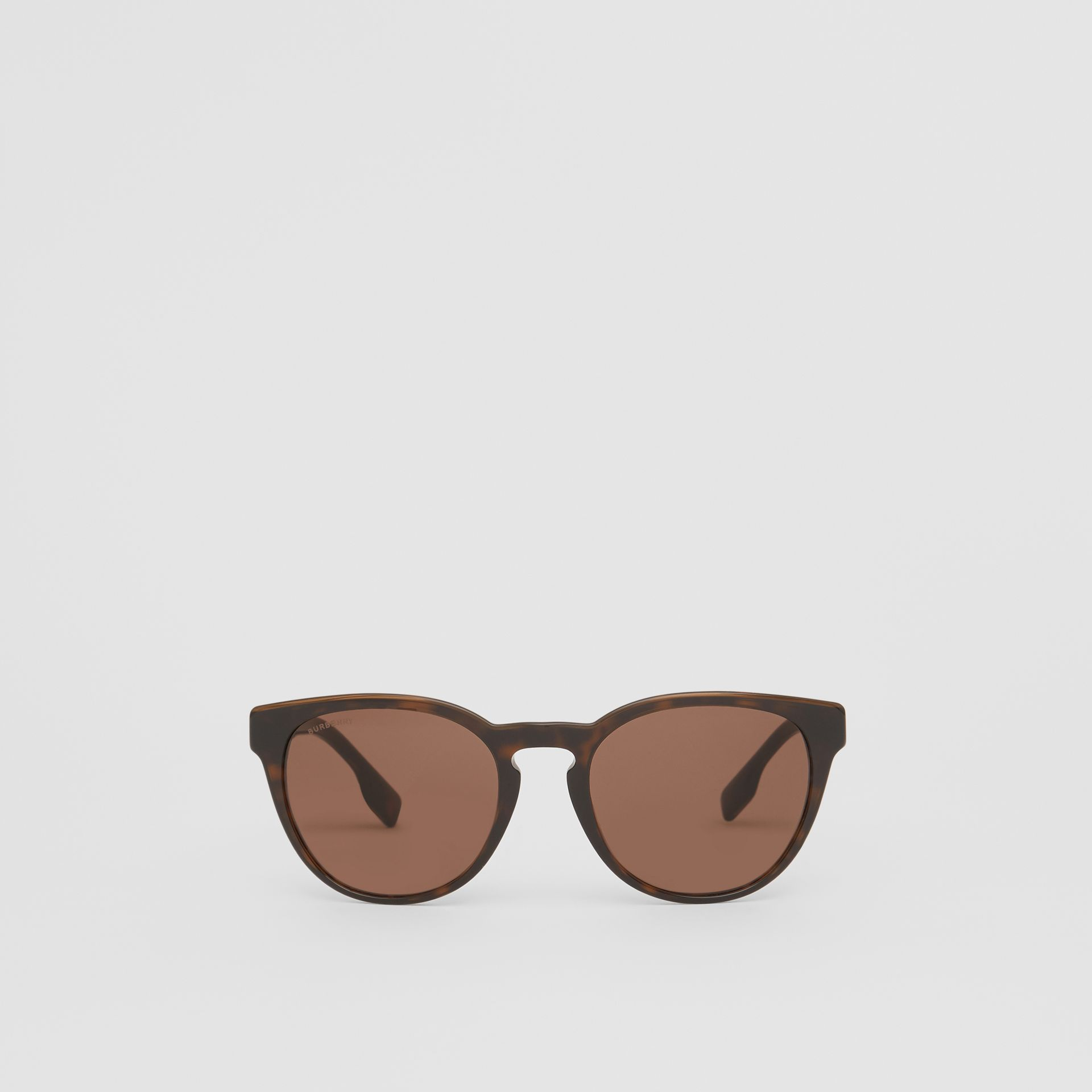 Round Frame Sunglasses in Tortoiseshell - Men | Burberry - gallery image 0