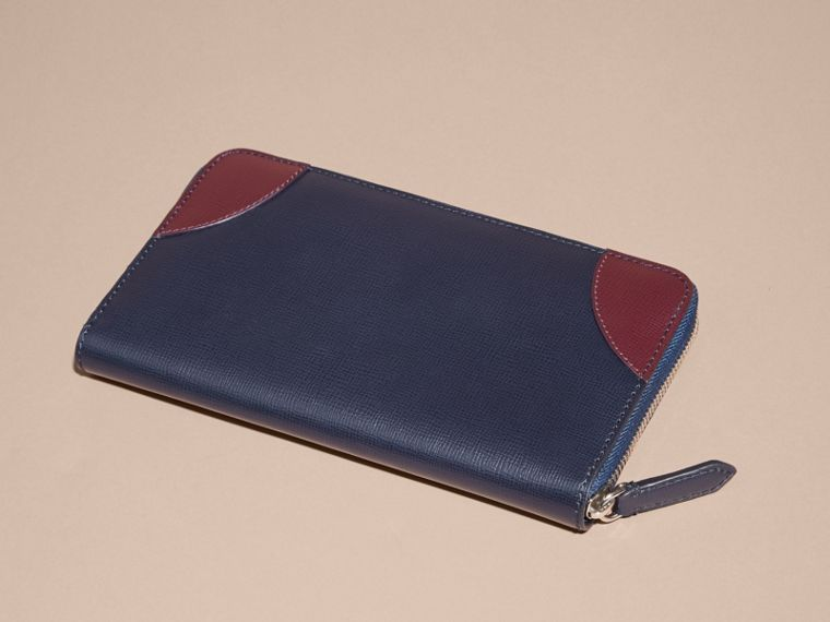 Contrast Corner London Leather Ziparound Wallet Dark Navy - cell image 4