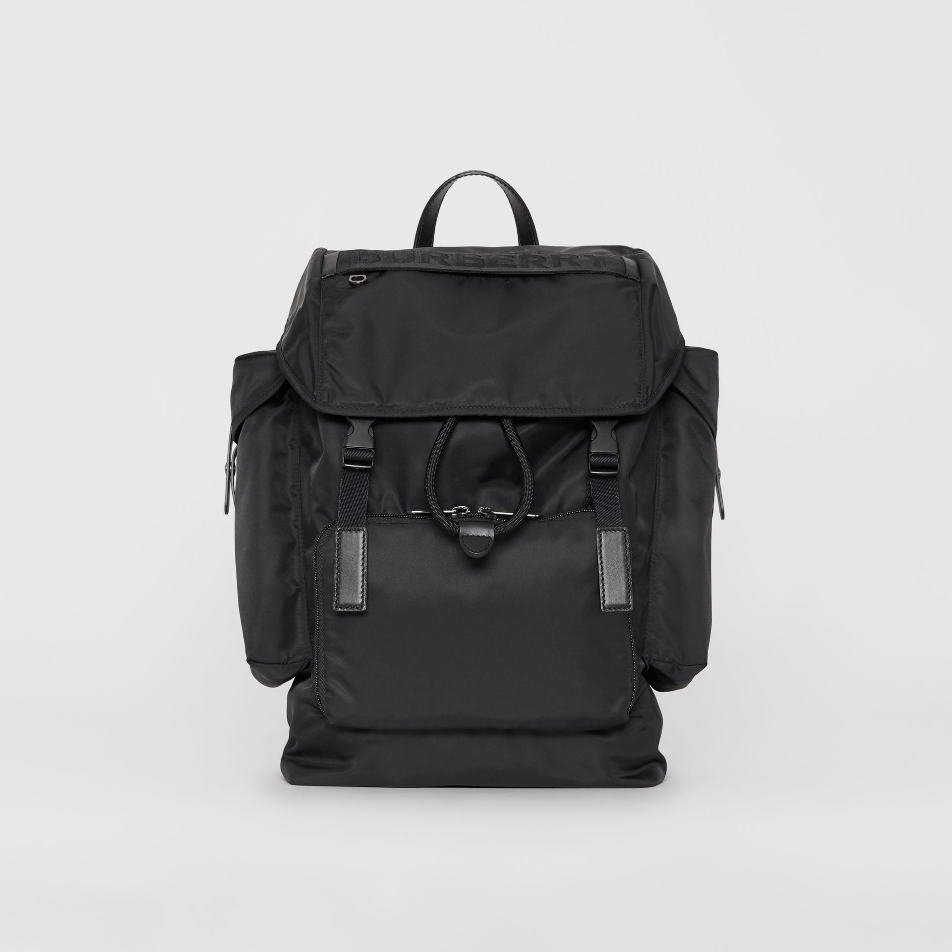 Large Leather Trim Nylon Backpack in Black | Burberry - gallery image 0