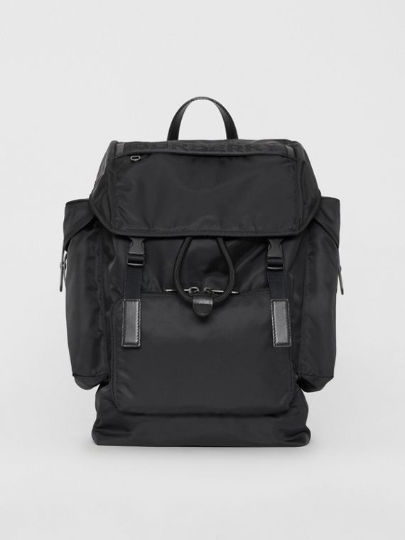 Large Leather Trim Nylon Backpack in Black