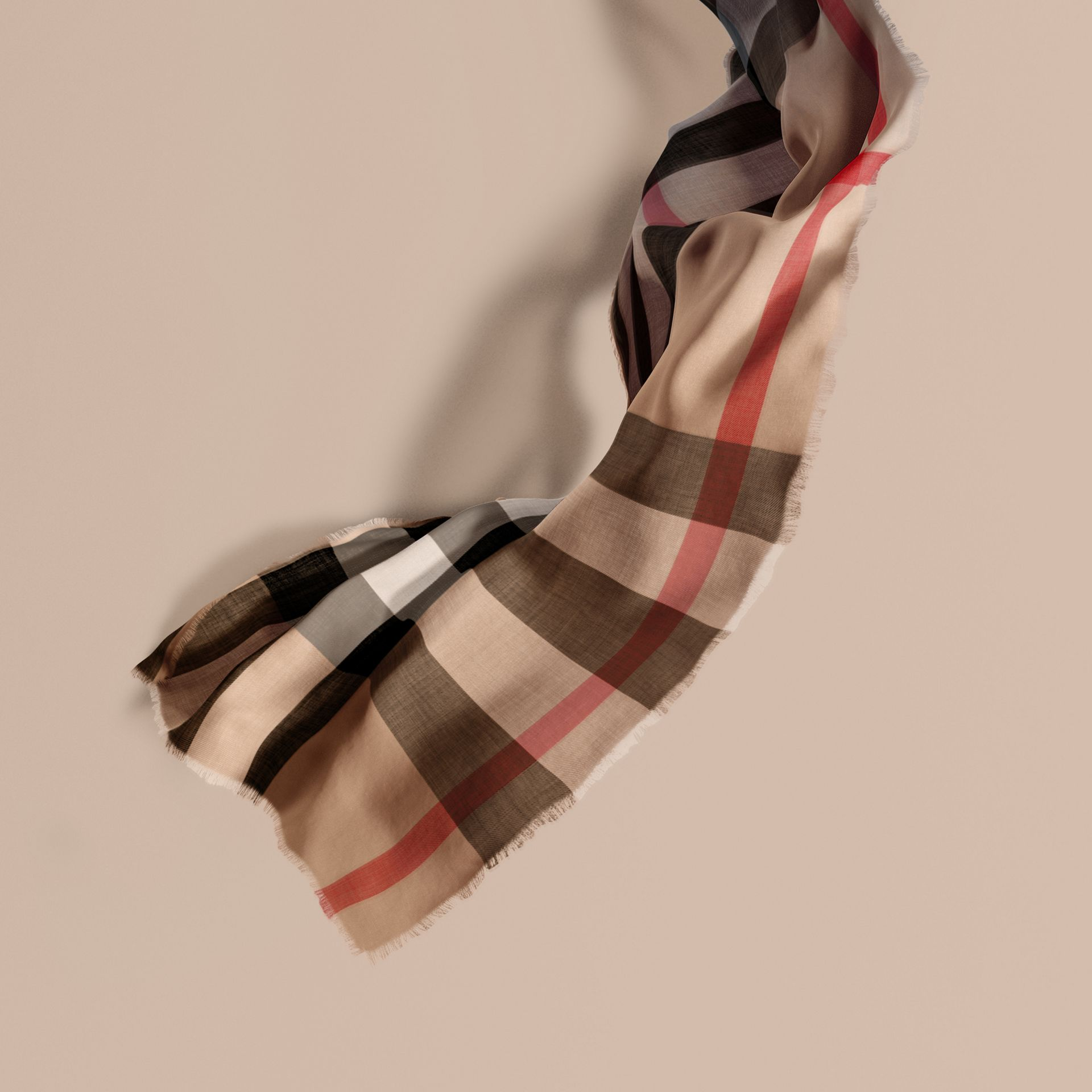 The Lightweight Cashmere Scarf in Ombré Check in Camel/navy | Burberry - gallery image 1