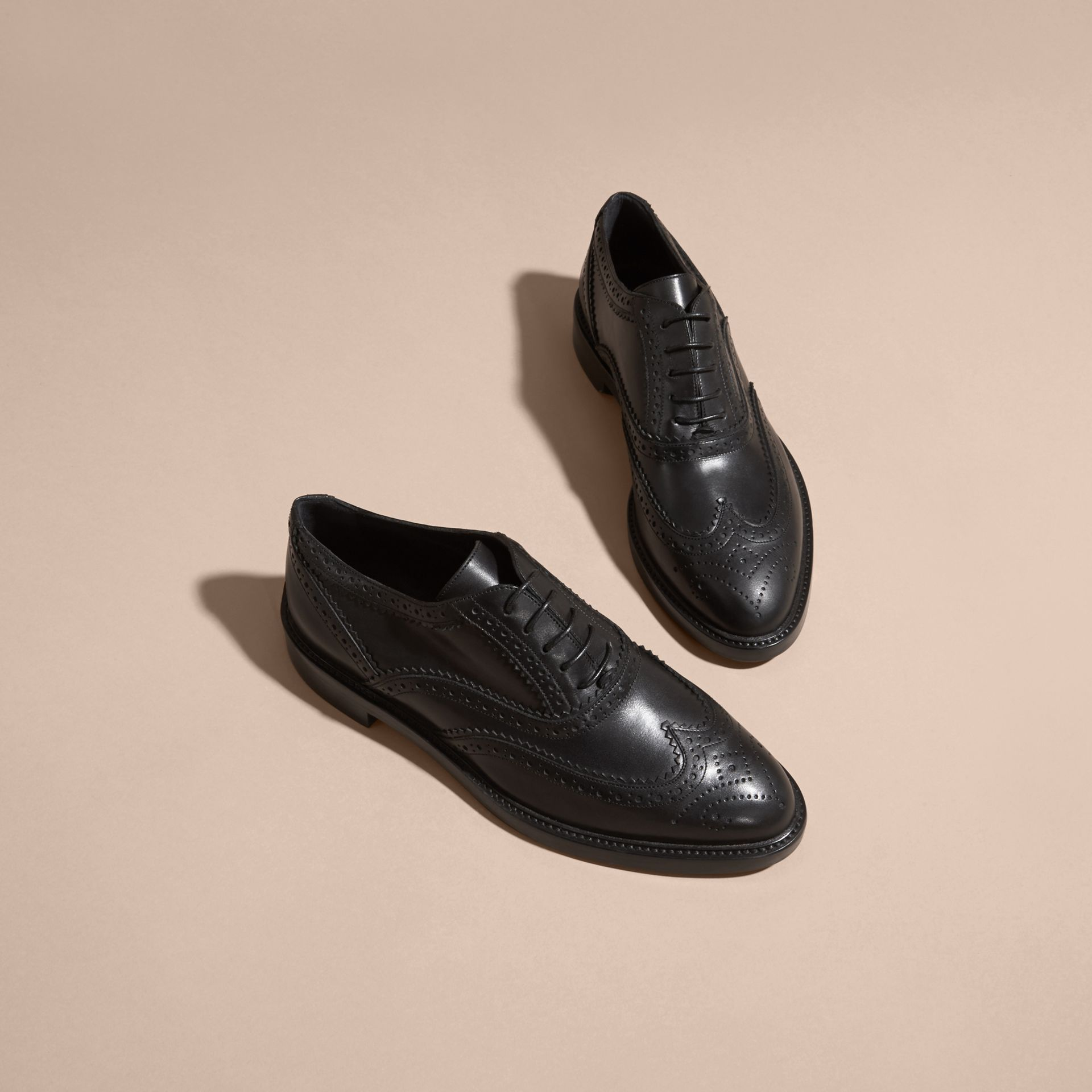 Leather Wingtip Brogues in Black - Women | Burberry - gallery image 3