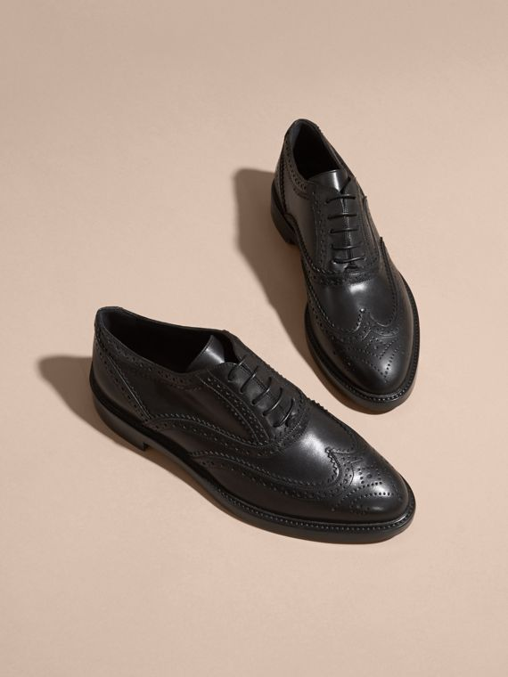 Leather Wingtip Brogues in Black - Women | Burberry - cell image 2