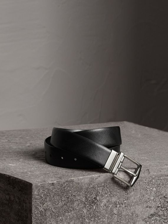 Reversible London Leather Belt in Black