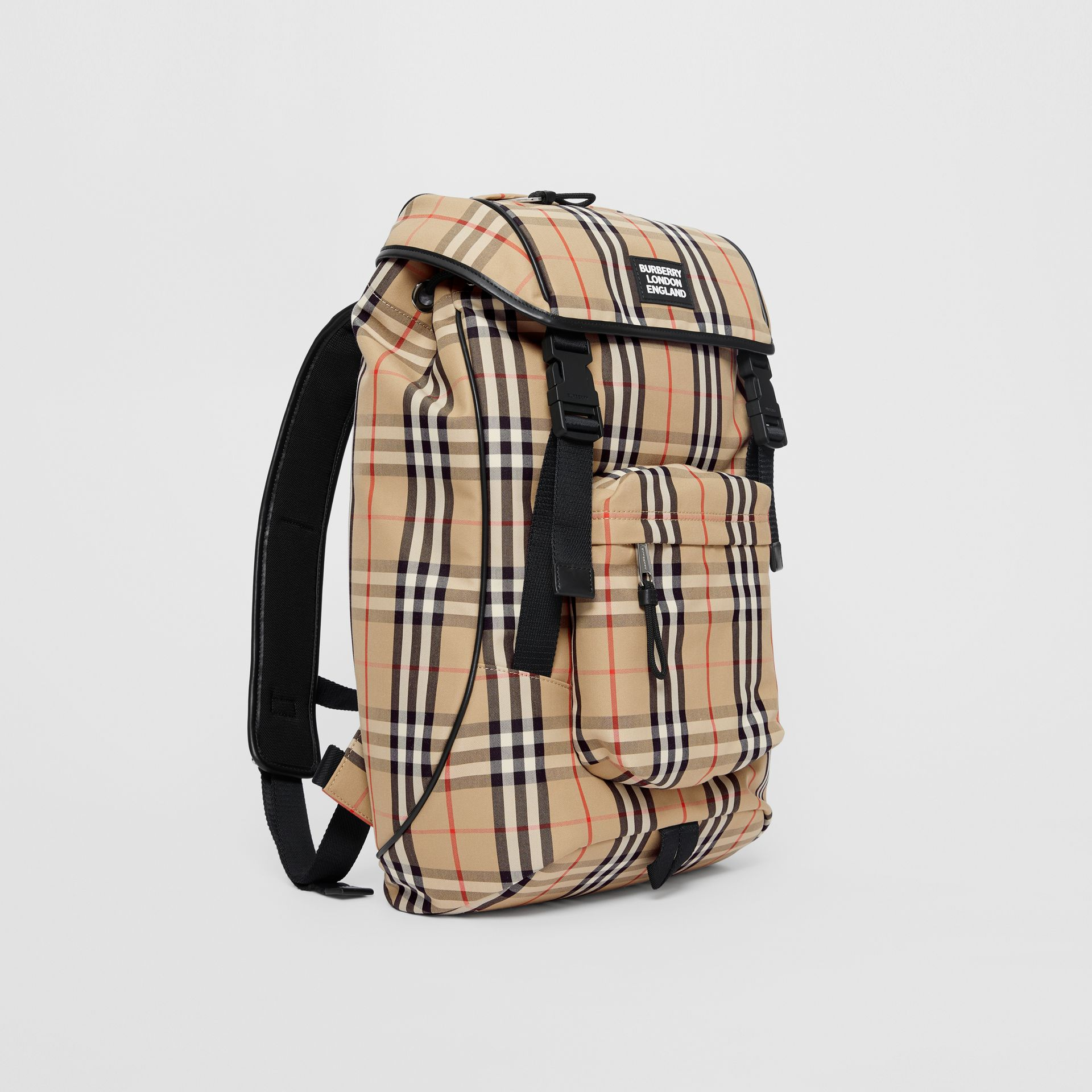 Logo Detail Vintage Check Backpack in Archive Beige | Burberry - gallery image 6