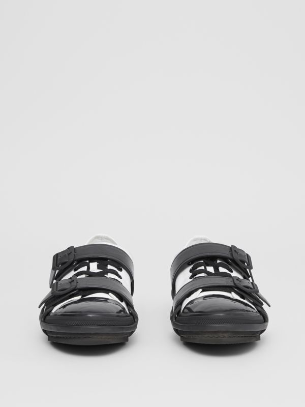 Two-tone Cotton and Leather Webb Sneakers in White/black | Burberry - cell image 3
