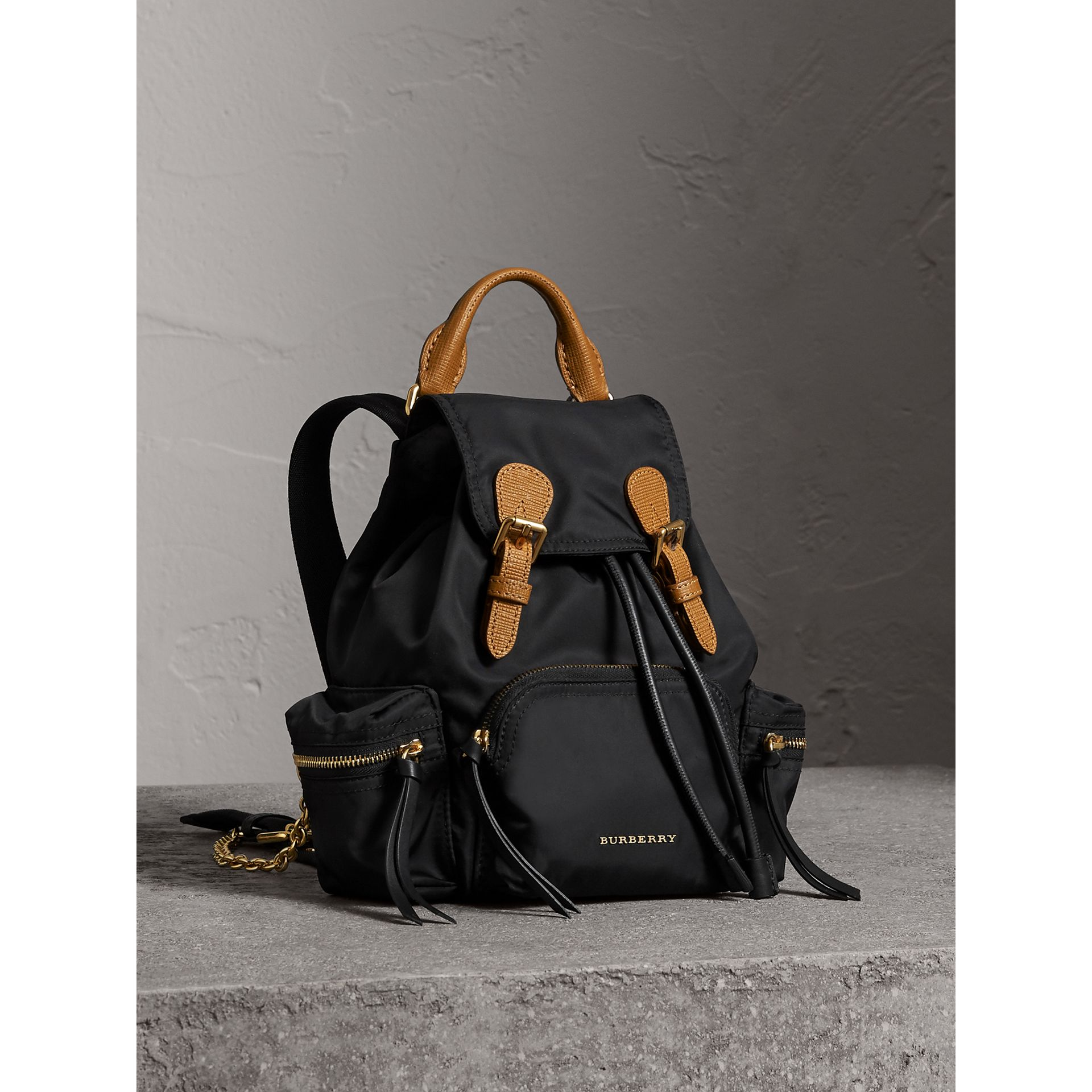 The Small Rucksack in Technical Nylon and Leather in Black - Women | Burberry United States - gallery image 0