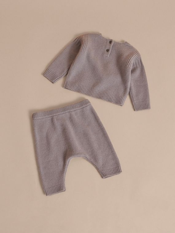 Cashmere Two-piece Baby Gift Set in Storm Grey | Burberry - cell image 2