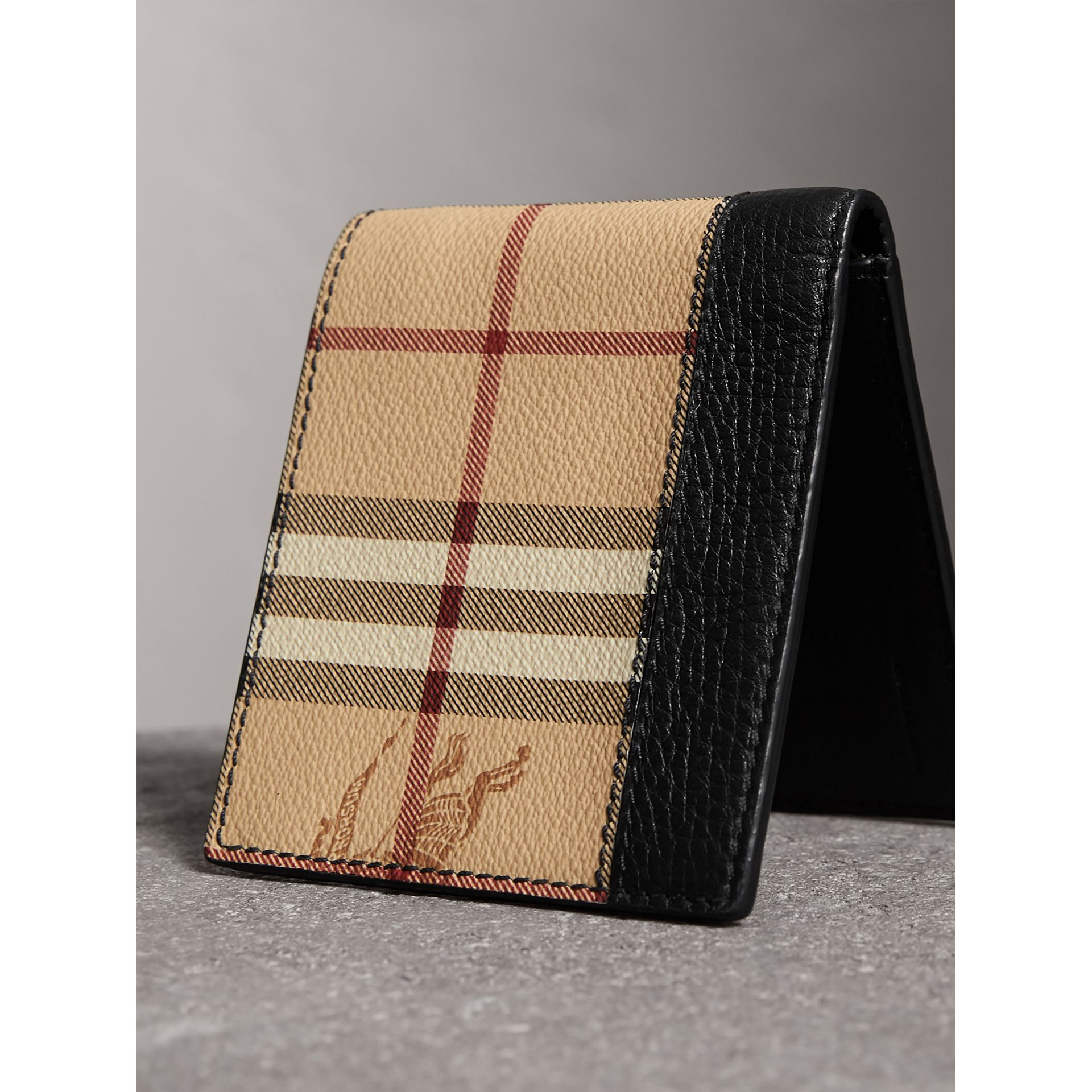 Haymarket Check and Leather International Bifold Wallet in Black - Men | Burberry Australia - gallery image 2
