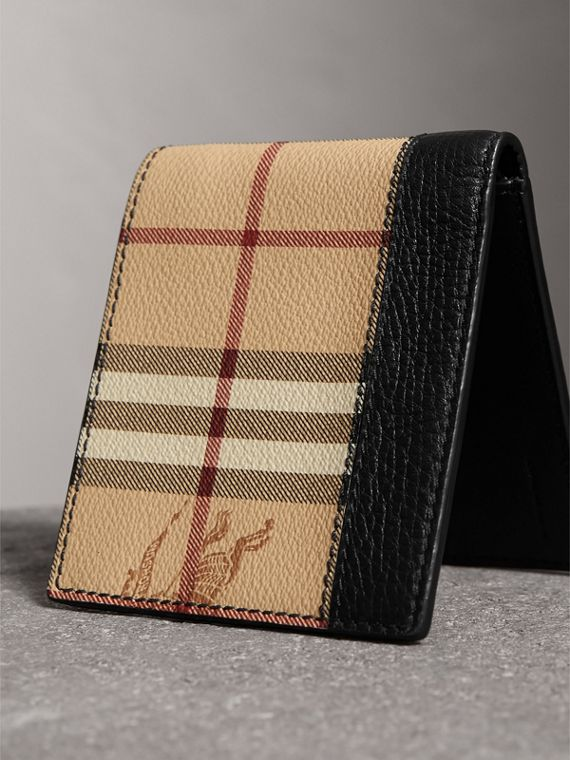 Haymarket Check and Leather International Bifold Wallet in Black - Men | Burberry Canada - cell image 2