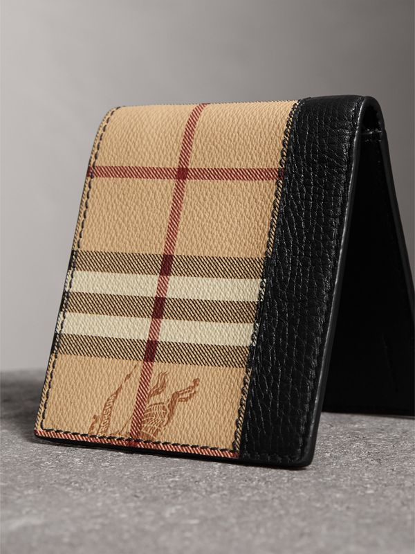 Haymarket Check and Leather International Bifold Wallet in Black - Men | Burberry Australia - cell image 2