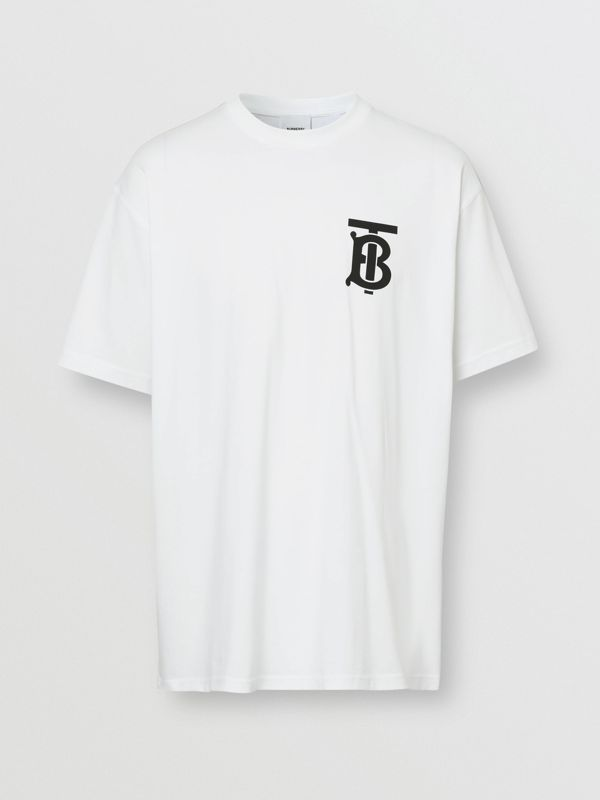 Monogram Motif Cotton Oversized T-shirt in White | Burberry United Kingdom - cell image 3