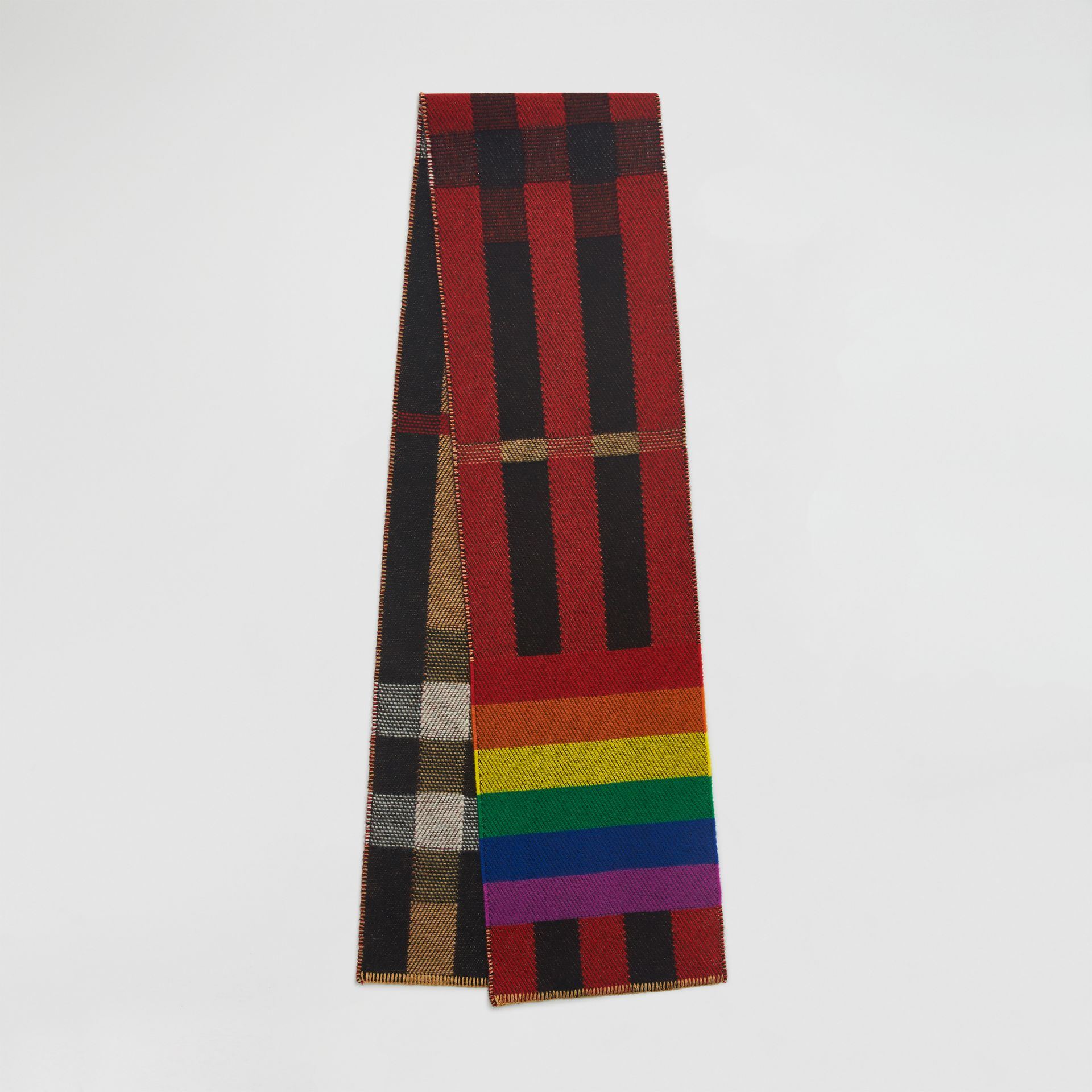 Reversible Rainbow Stripe and Check Cashmere Scarf in Antique Yellow/rainbow | Burberry - gallery image 0