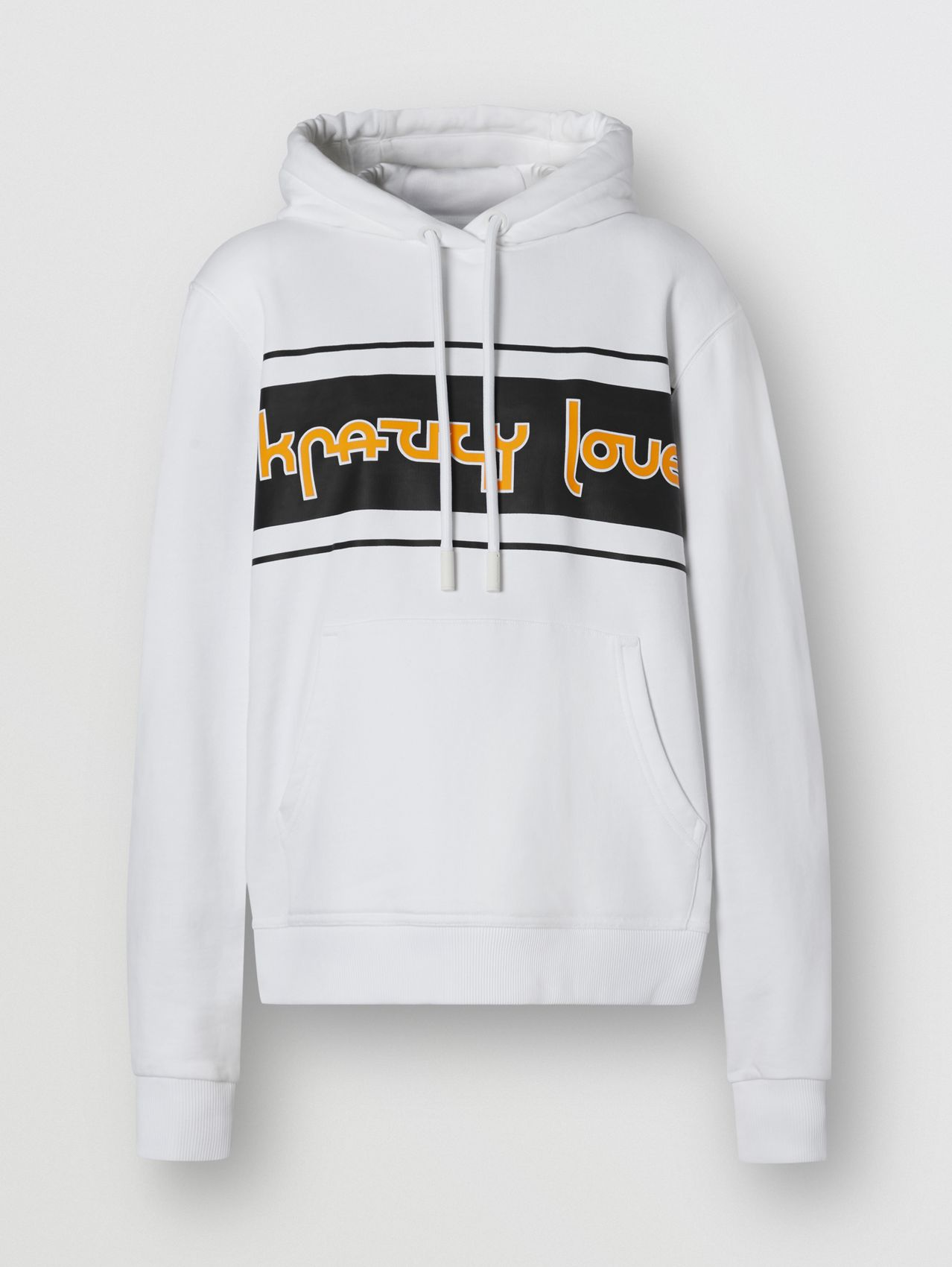 Slogan Print Cotton Oversized Hoodie in White
