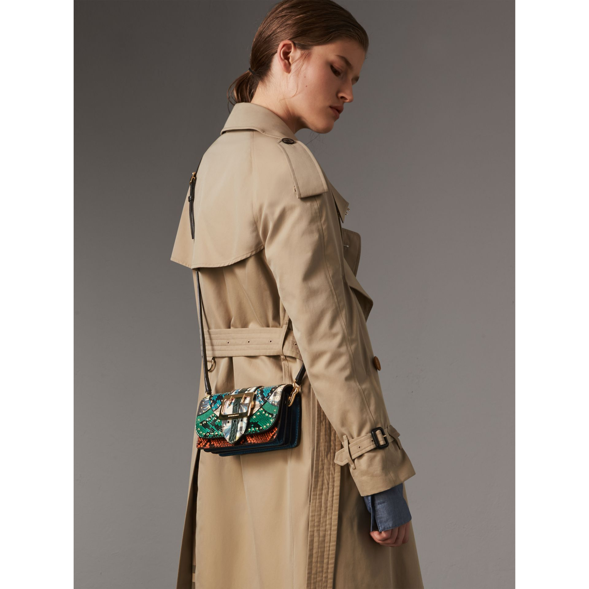 The Small Buckle Bag in Riveted Snakeskin and Floral Print in Turquoise - Women | Burberry United States - gallery image 7