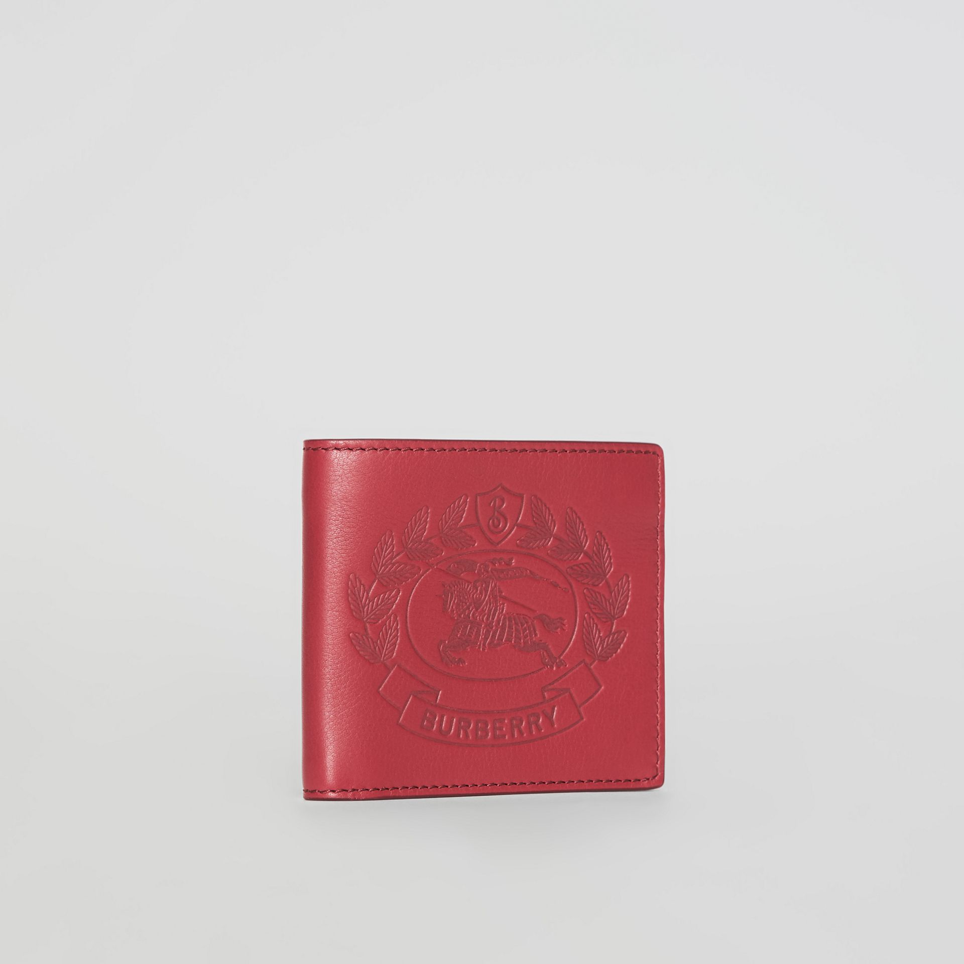 Embossed Crest Leather International Bifold Wallet in Crimson - Men | Burberry Australia - gallery image 4