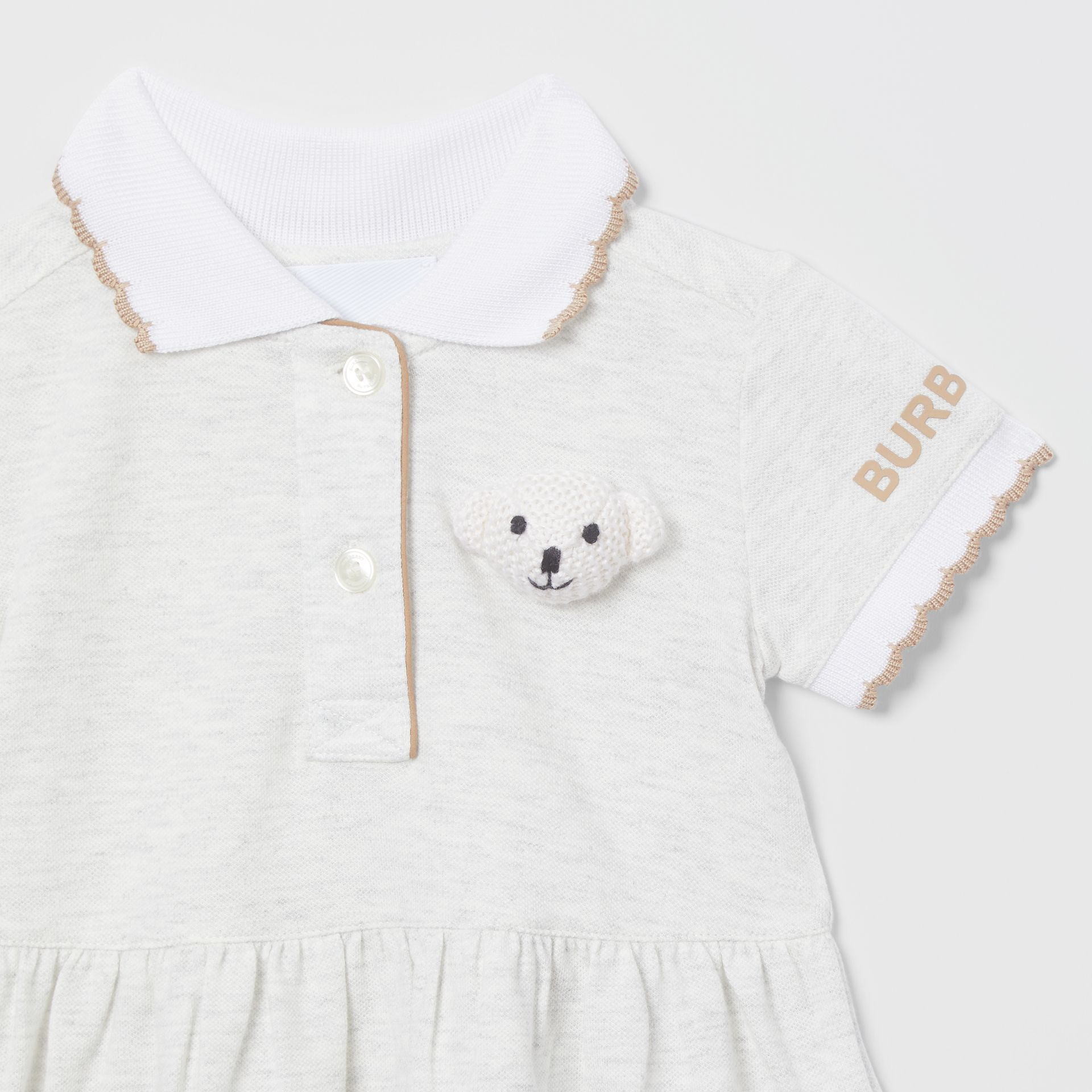 Thomas Bear Detail Stretch Cotton Dress with Bloomers in White Melange - Children | Burberry United States - gallery image 5