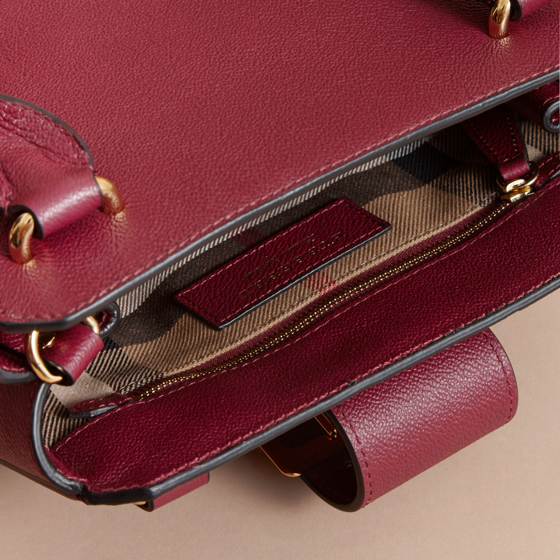 The Small Buckle Tote in Grainy Leather Dark Plum - gallery image 6
