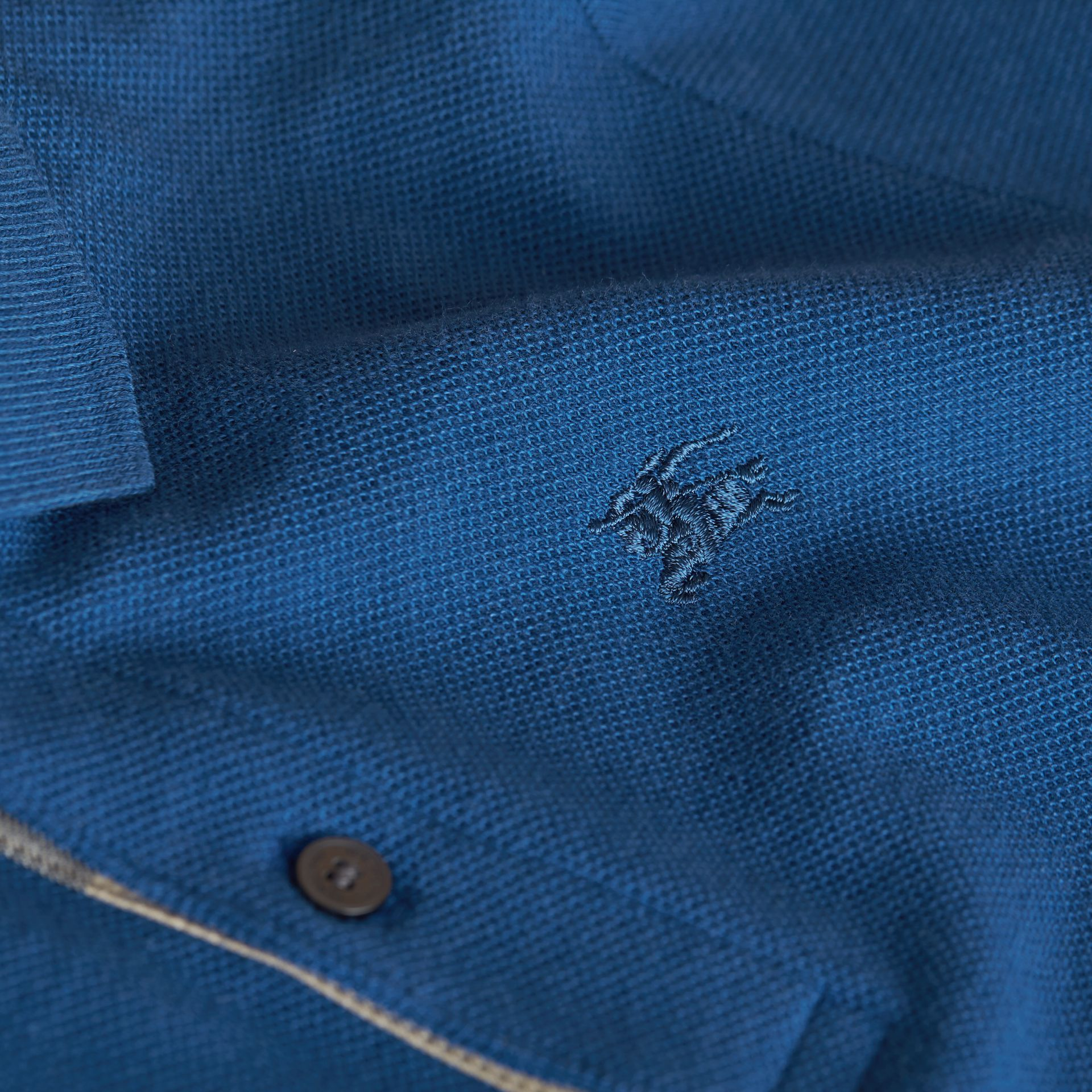 Check Placket Cotton Piqué Polo Shirt in Marine Blue - Boy | Burberry - gallery image 2