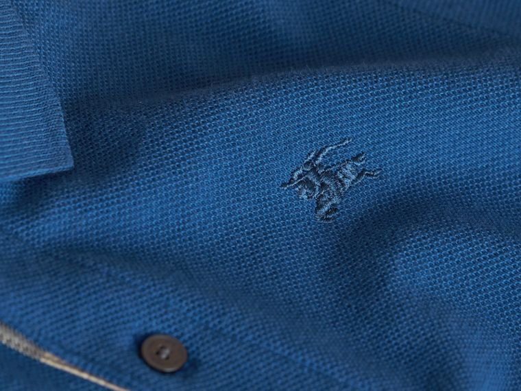 Check Placket Cotton Piqué Polo Shirt in Marine Blue - Boy | Burberry - cell image 1