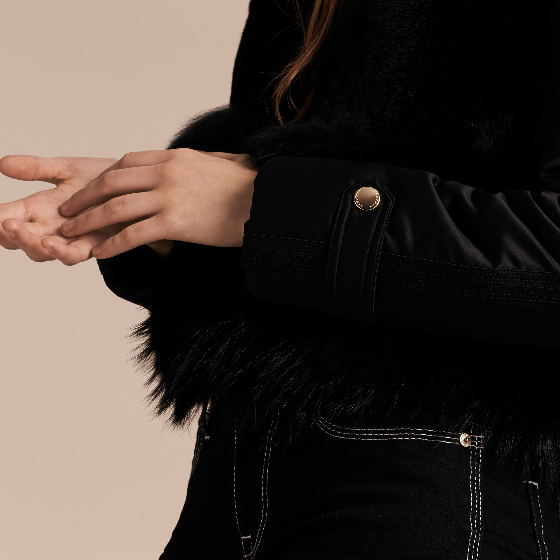 Black Fur-trimmed Satin Bomber Jacket - gallery image 5