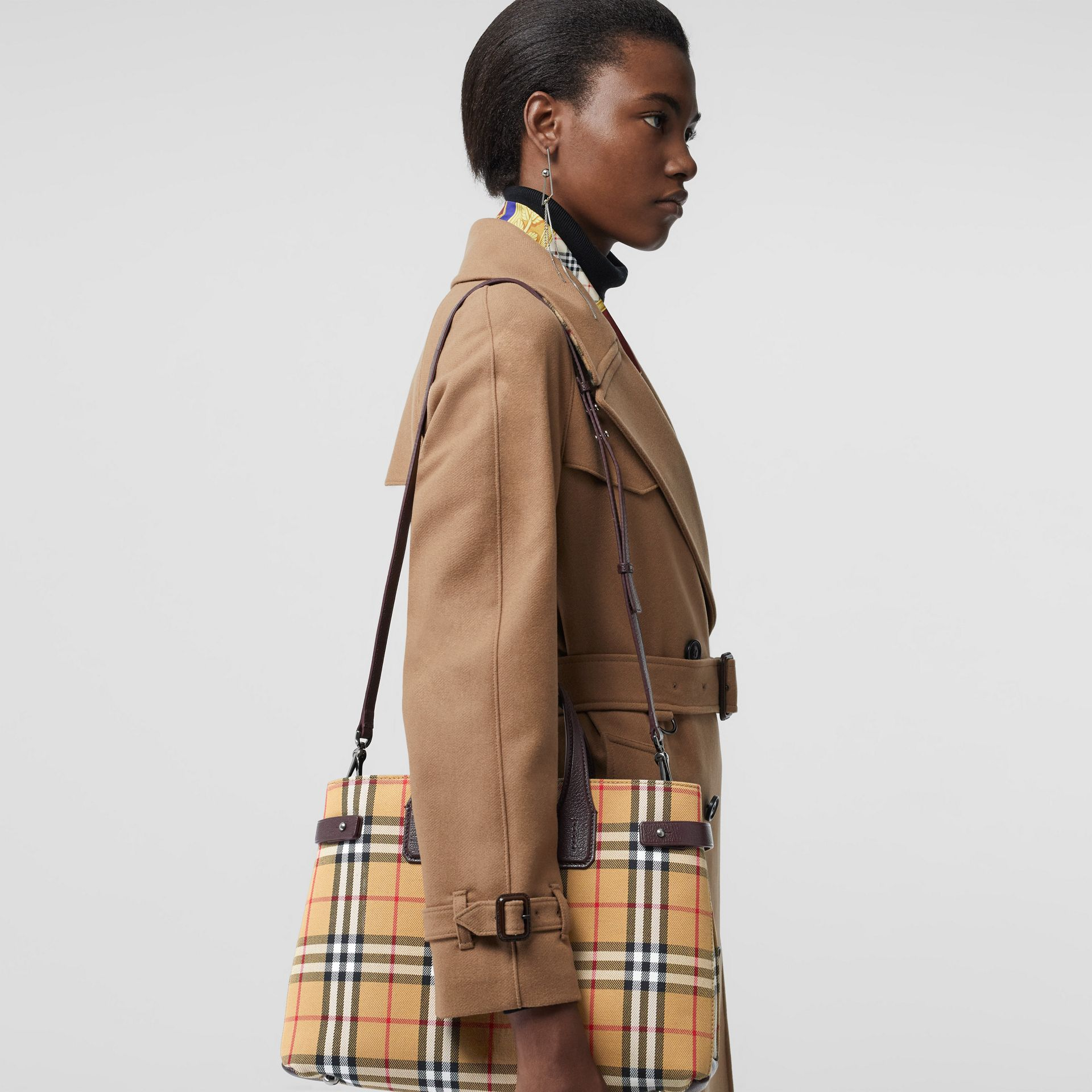 The Medium Banner in Vintage Check and Leather in Deep Claret - Women | Burberry - gallery image 3