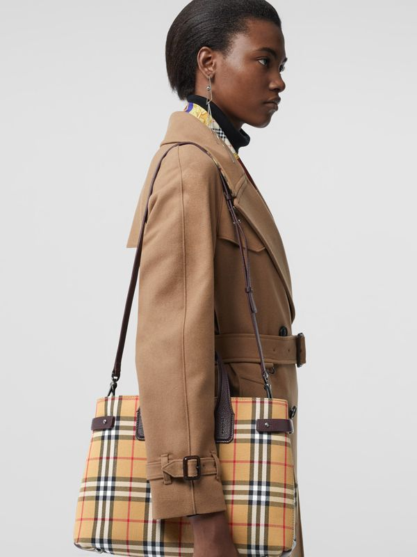 The Medium Banner in Vintage Check and Leather in Deep Claret - Women | Burberry United Kingdom - cell image 3