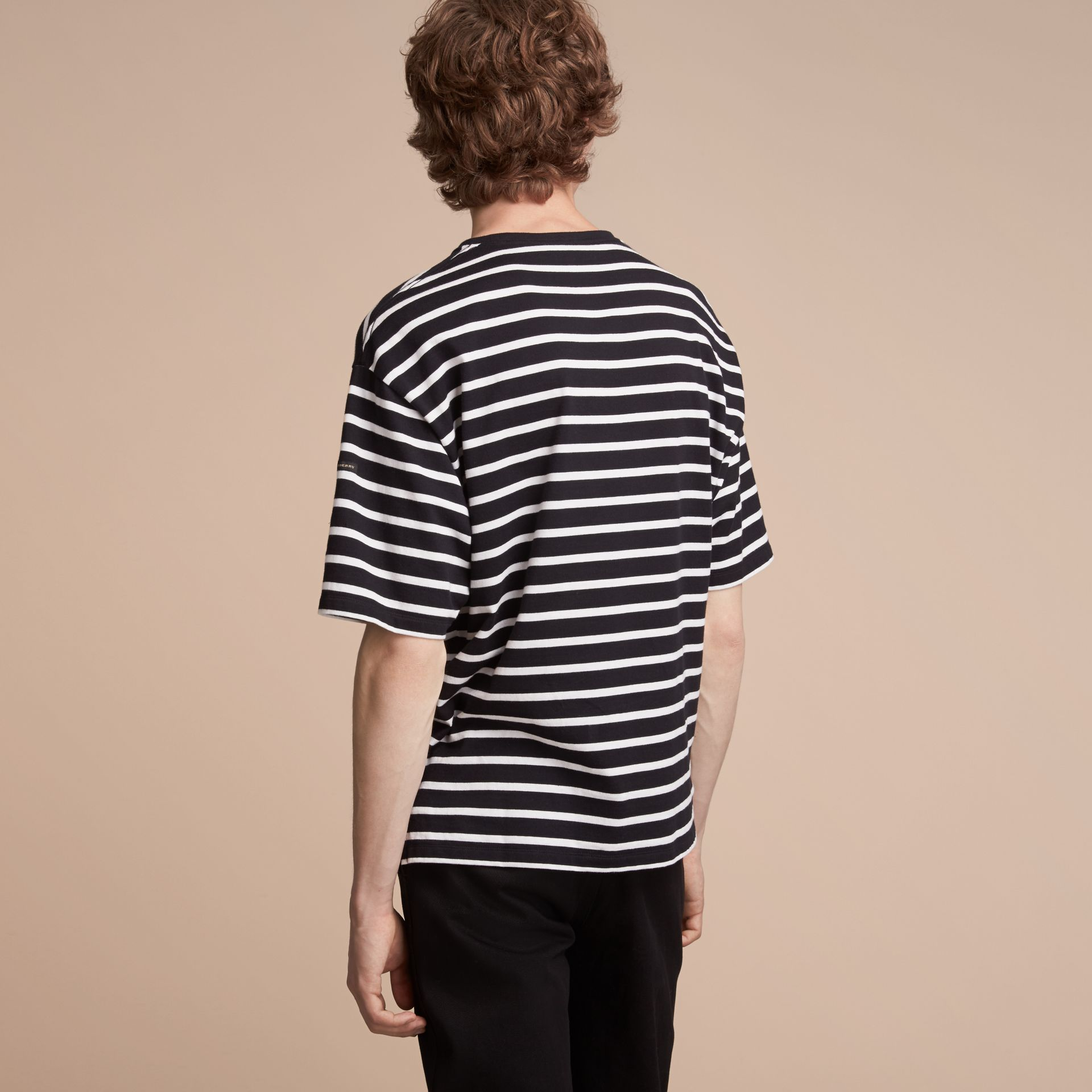 Striped Cotton Oversize T-shirt in Black/white - Men | Burberry - gallery image 3