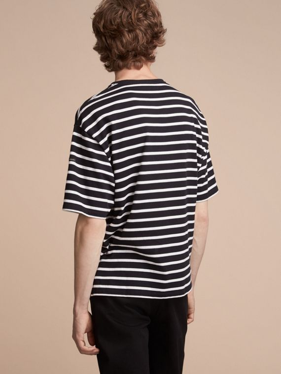 Striped Cotton Oversize T-shirt in Black/white - Men | Burberry - cell image 2