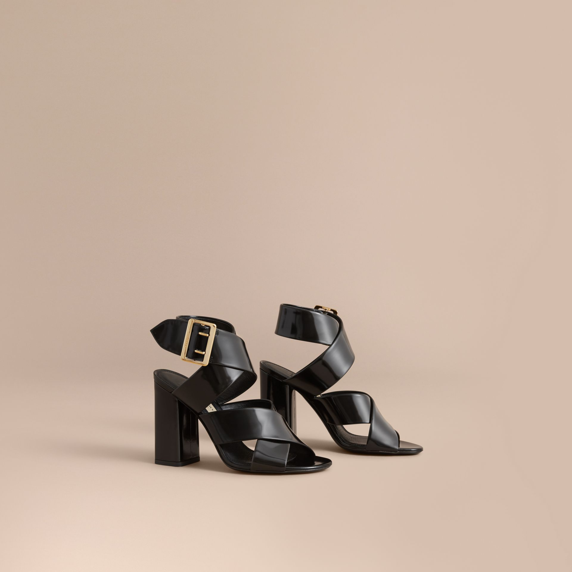 Buckle Detail Patent Leather Sandals in Black - Women | Burberry - gallery image 1
