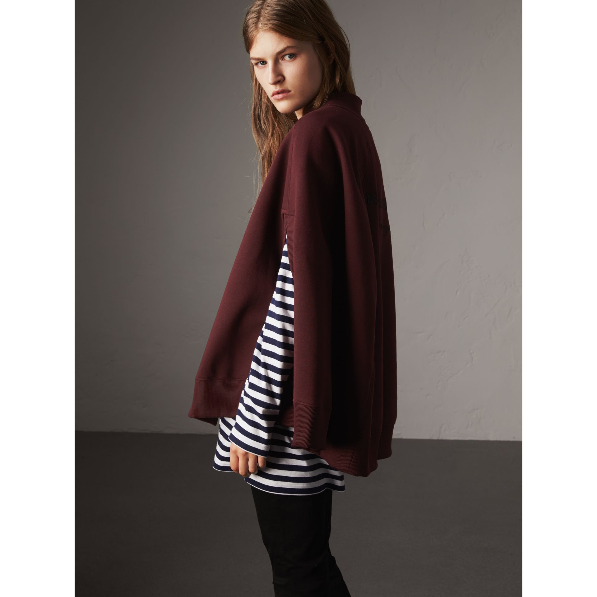 Embroidered Jersey Cape in Deep Claret - Women | Burberry - gallery image 3