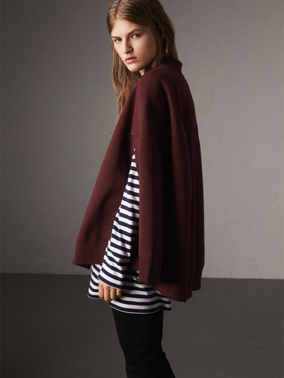 Embroidered Jersey Cape in Deep Claret - Women | Burberry - cell image 2