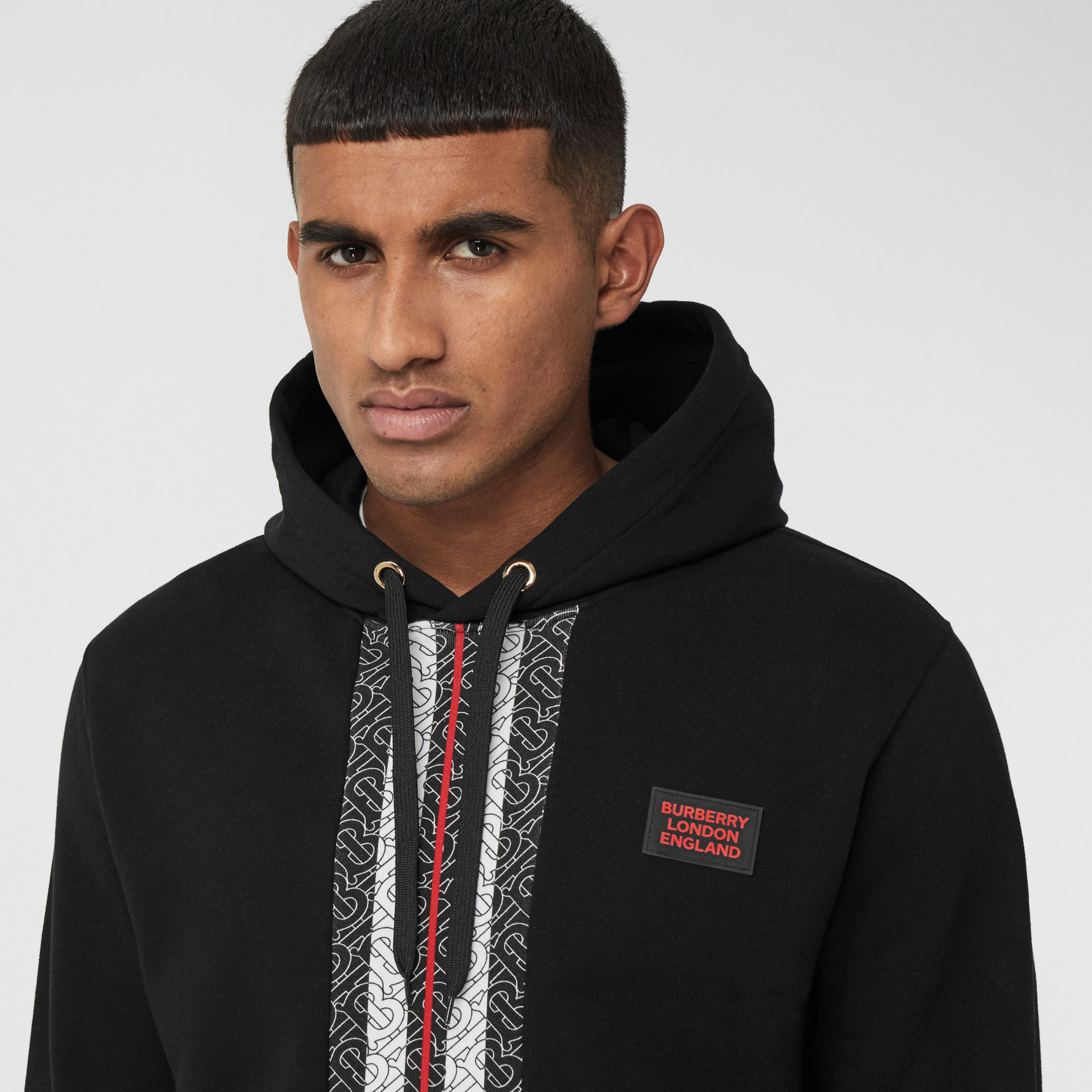 Monogram Stripe Panel Cotton Hoodie in Black - Men | Burberry - 2