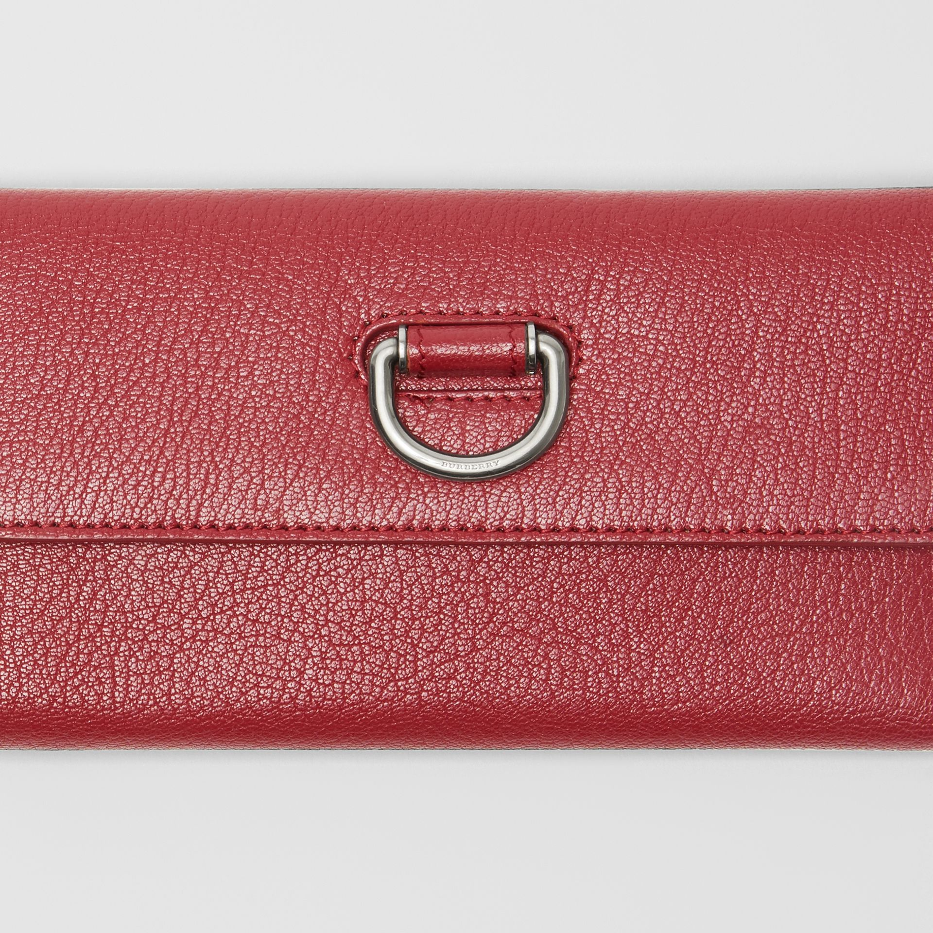 D-ring Grainy Leather Continental Wallet in Crimson - Women | Burberry - gallery image 1