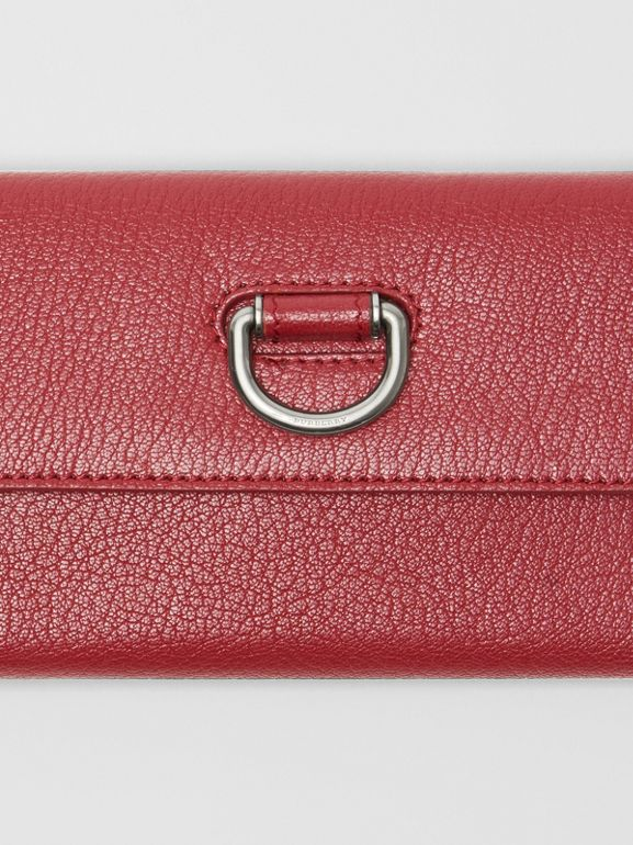 D-ring Grainy Leather Continental Wallet in Crimson - Women | Burberry - cell image 1