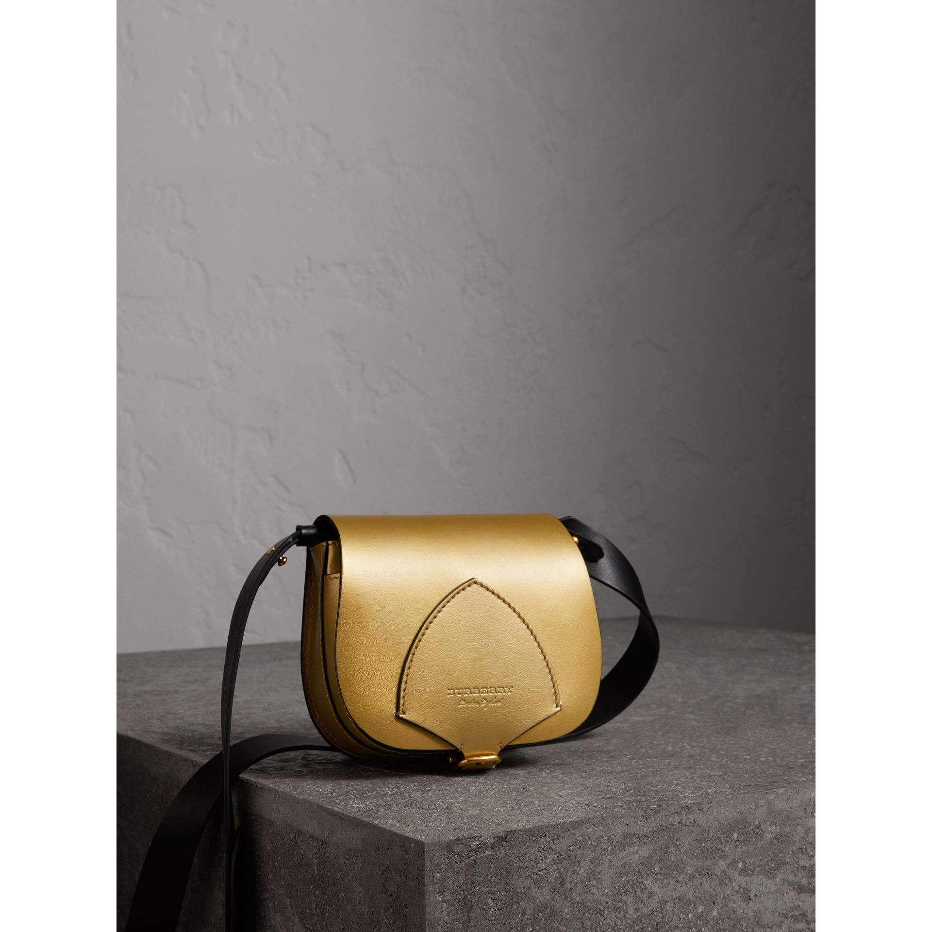 The Satchel in Metallic Leather in Gold - Women | Burberry - gallery image 7