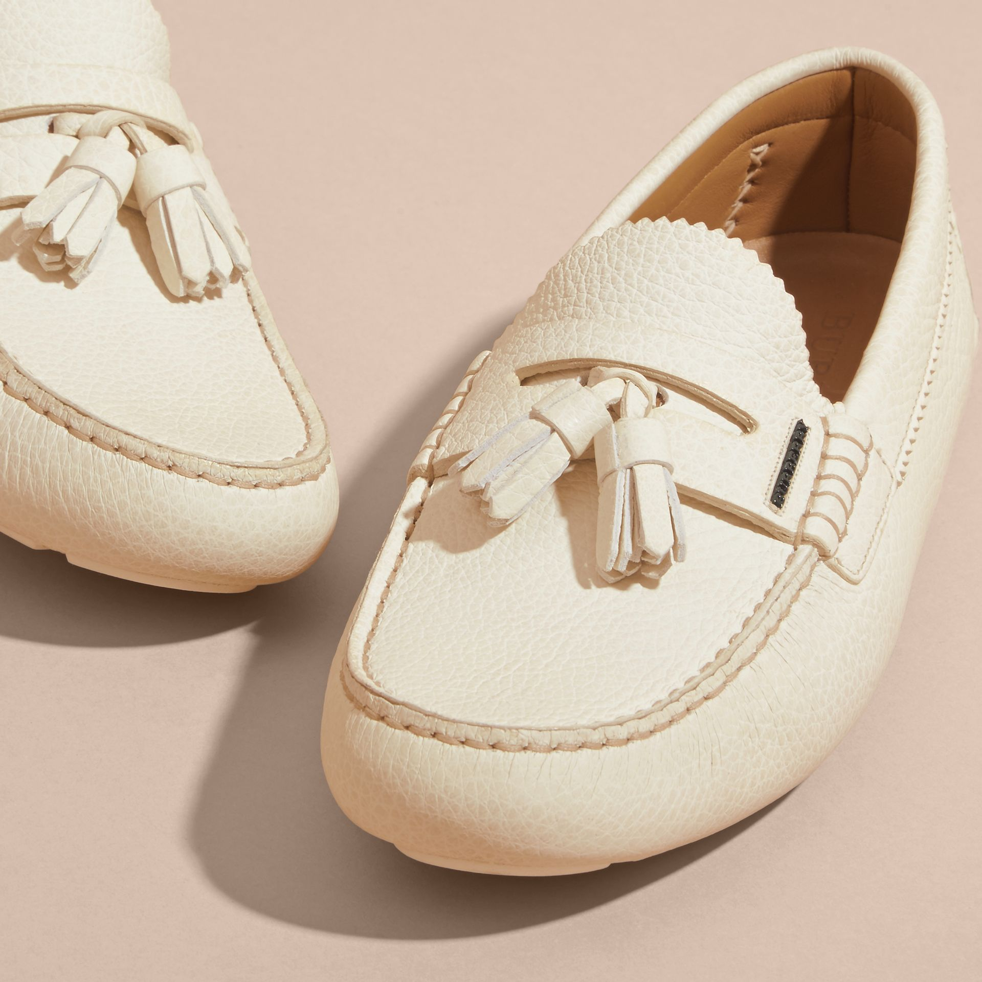 Tasselled Grainy Leather Loafers in Off White - gallery image 3