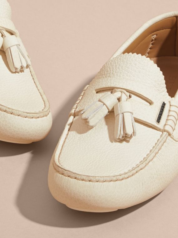 Tasselled Grainy Leather Loafers in Off White - cell image 2