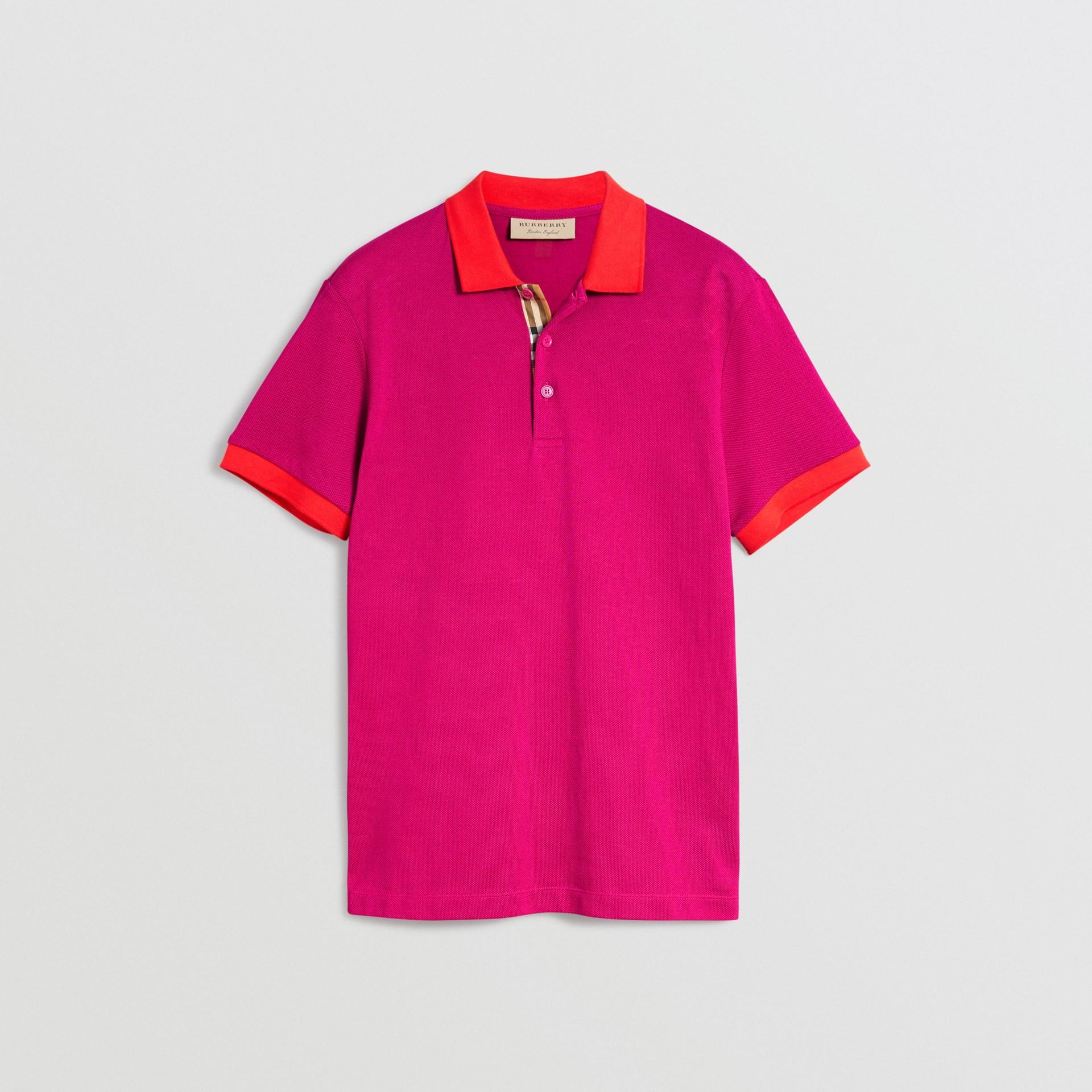 Polo en coton avec col contrastant (Rose Prune) - Homme | Burberry Canada - photo de la galerie 3