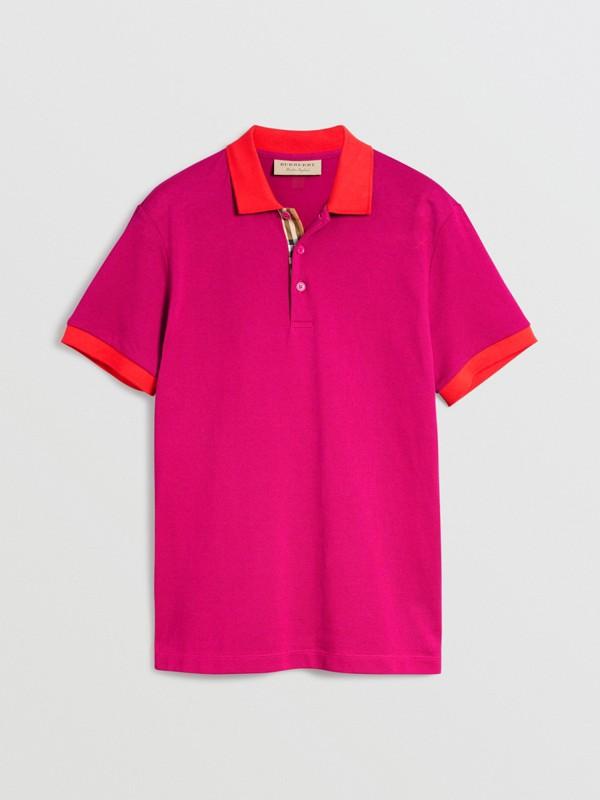 Polo en coton avec col contrastant (Rose Prune) - Homme | Burberry Canada - cell image 3