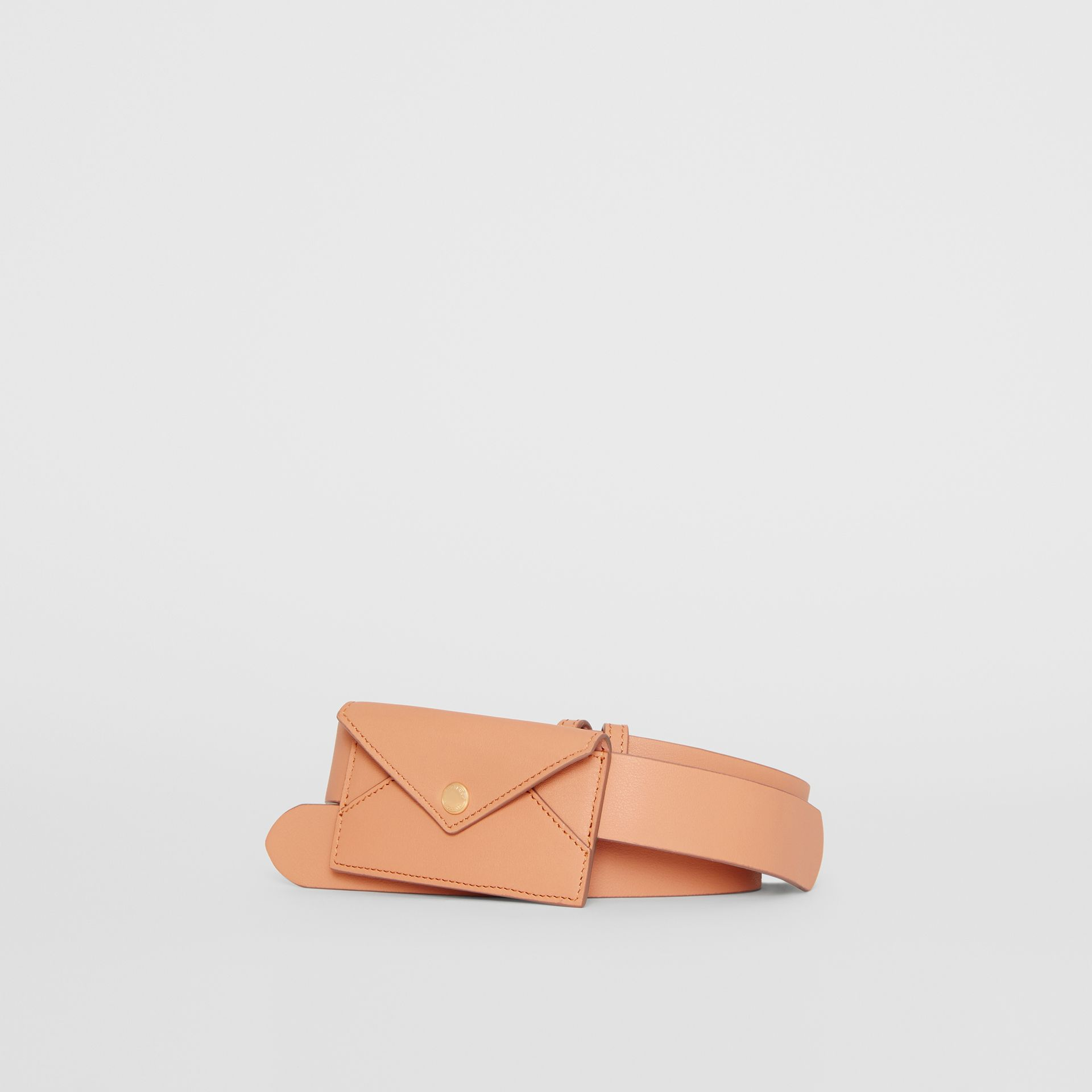 Envelope Detail Leather Belt in Pale Brick - Women | Burberry - gallery image 0