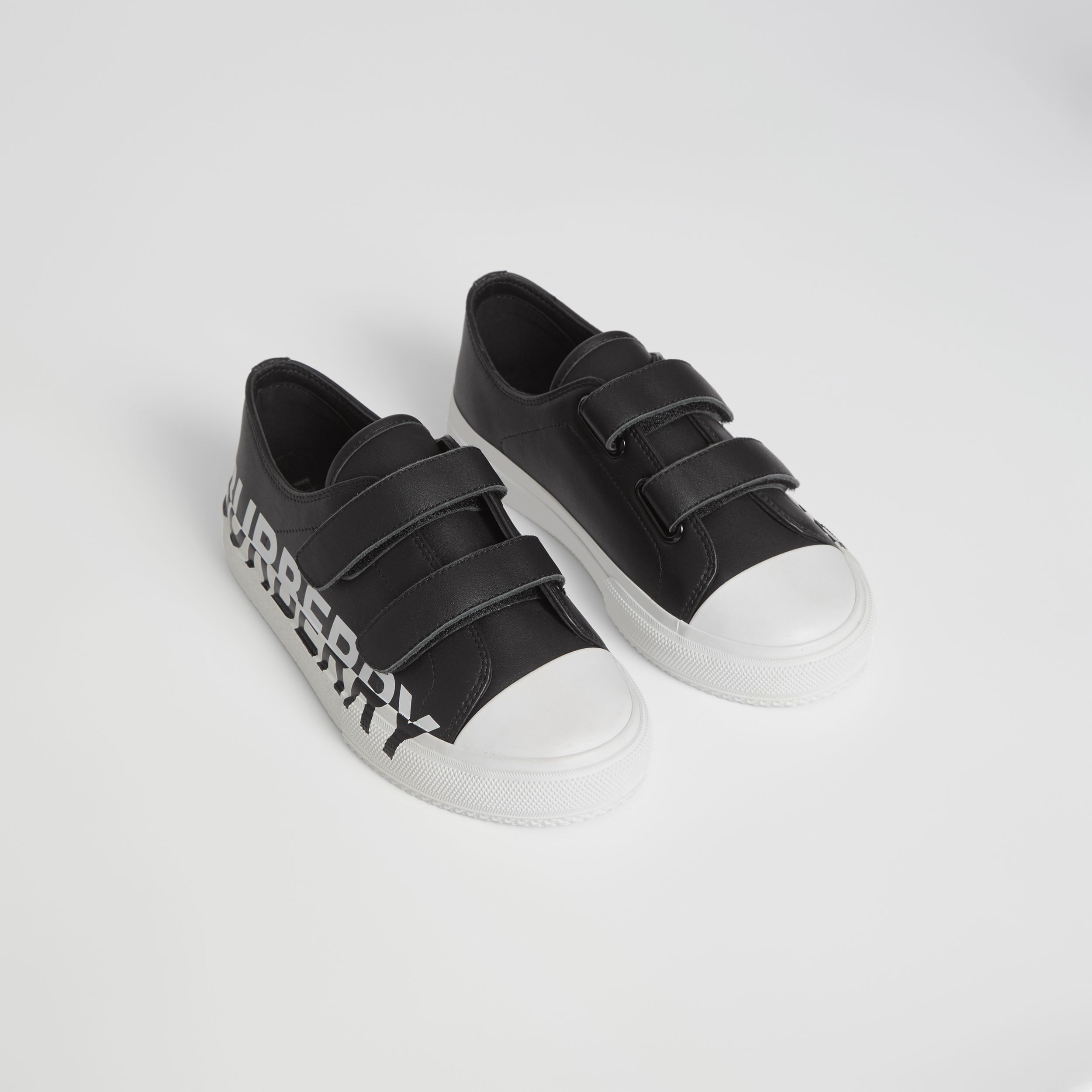 Logo Print Two-tone Leather Sneakers in Black/white - Children | Burberry - 1