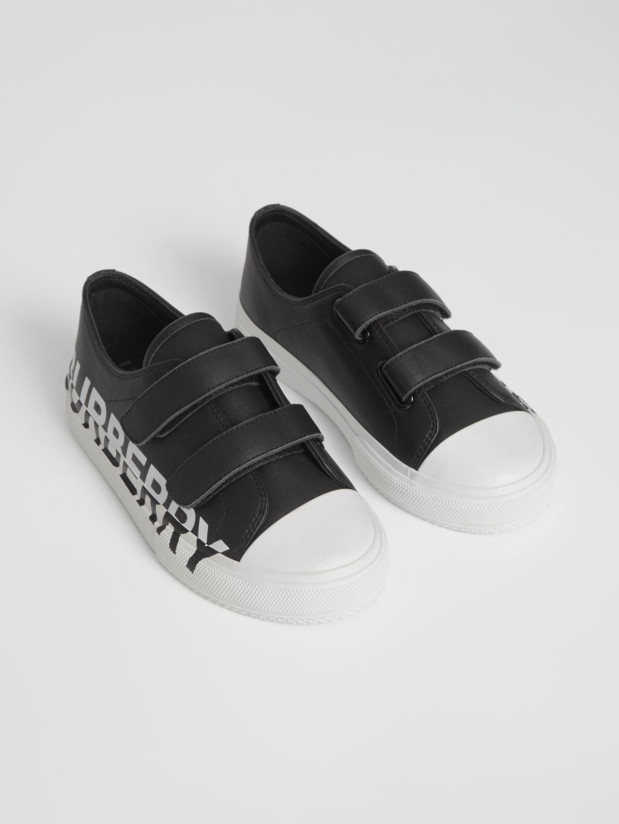 Logo Print Two-tone Leather Sneakers in Black/white