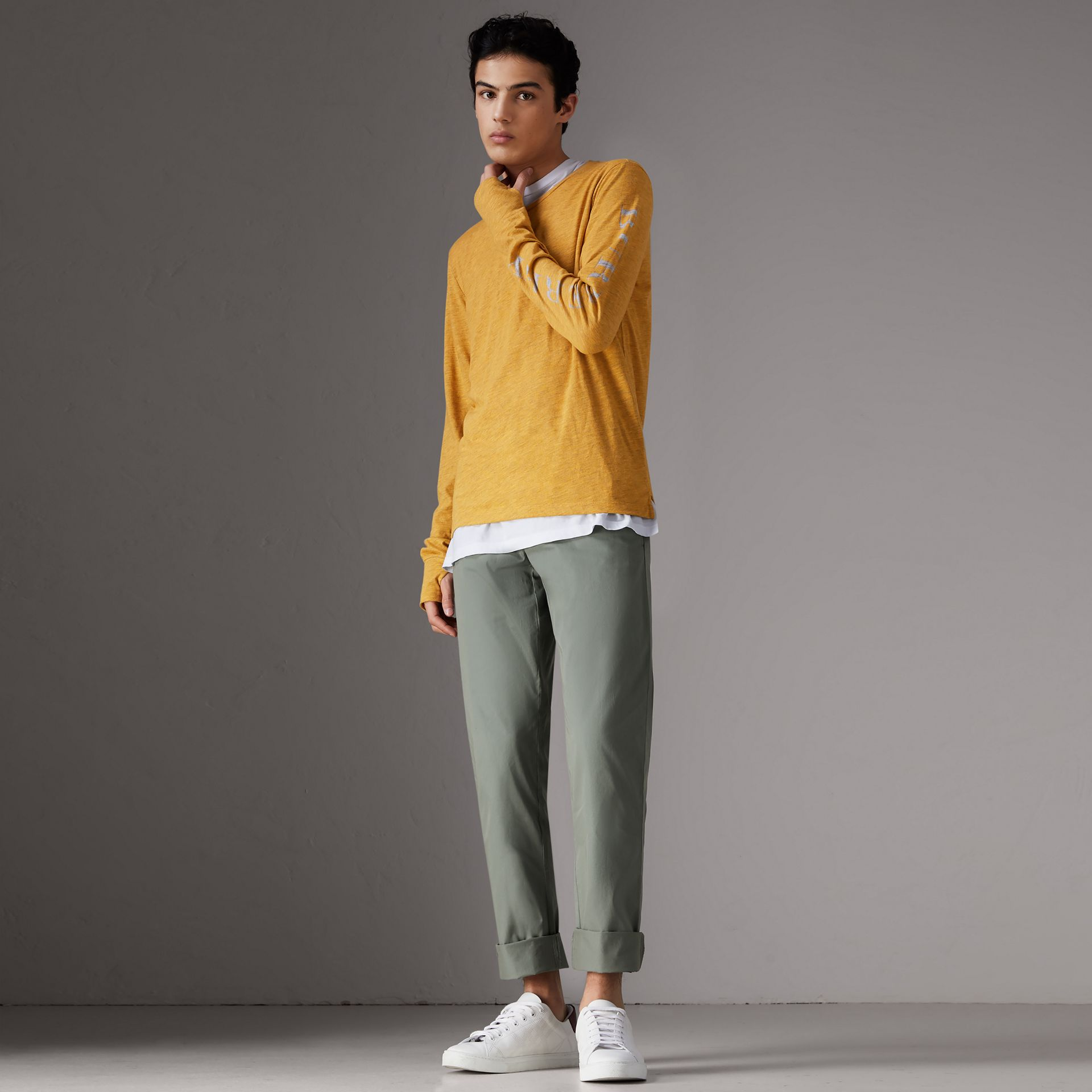 Slim Fit Cotton Chinos in Grey Blue - Men | Burberry Singapore - gallery image 0