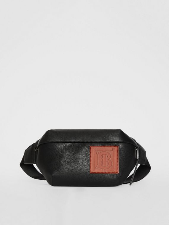 Medium Monogram Motif Leather Bum Bag in Black