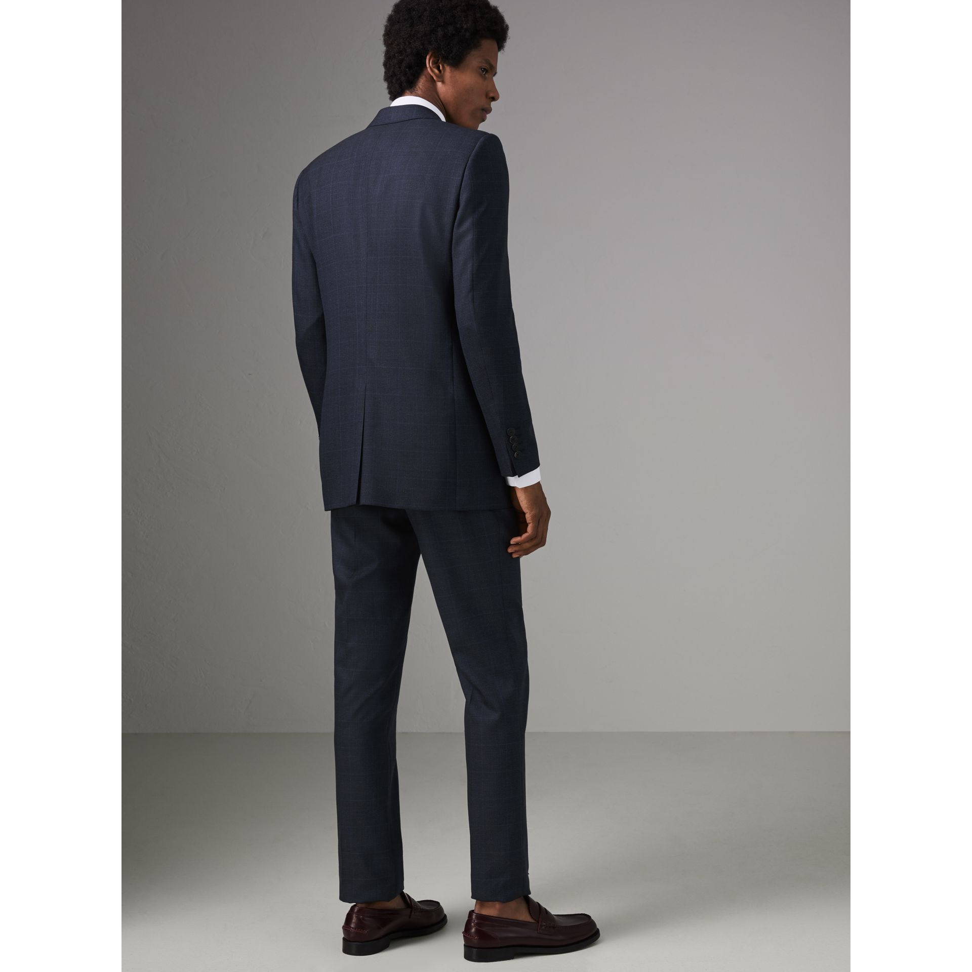 Modern Fit Check Wool Three-piece Suit in Bright Navy - Men | Burberry - gallery image 2