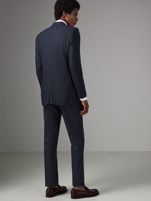 Modern Fit Check Wool Three-piece Suit in Bright Navy - Men | Burberry - cell image 2
