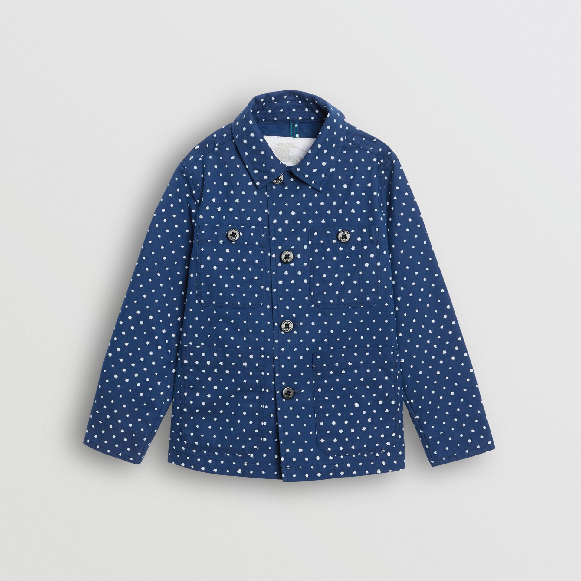 Spot Print Cotton Blend Jacket in Bright Navy | Burberry United Kingdom - gallery image 0